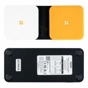 Deze afbeelding toont de Blue2 Bluetooth Switch: een dubbele schakelaar met een witte en gele knop.