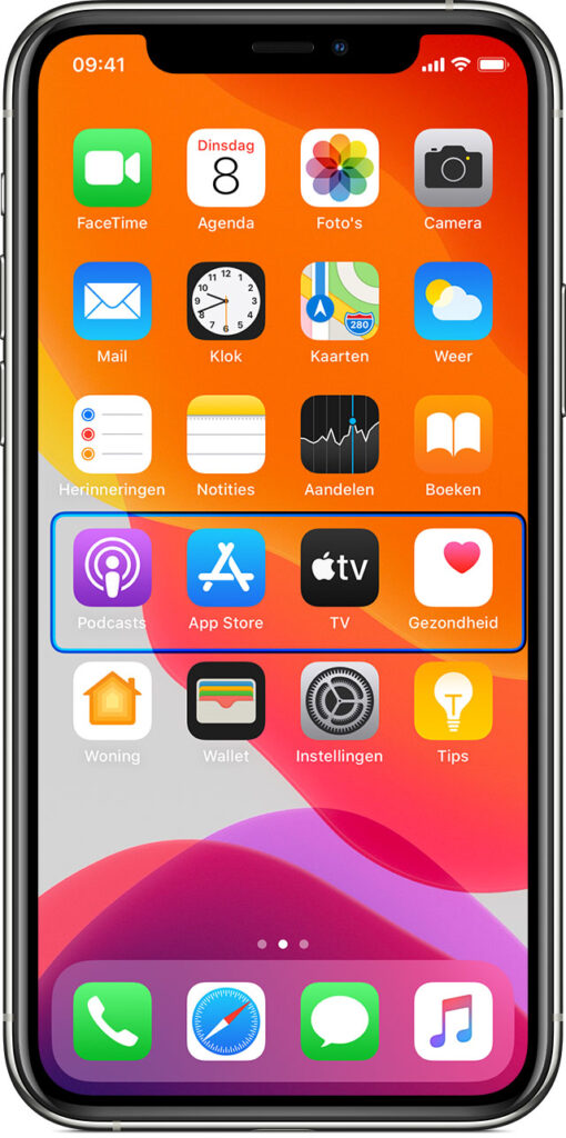 Afbeelding van een iPhone waarbij een rij gemarkeerd is met onderdeelscannen via schakelbediening