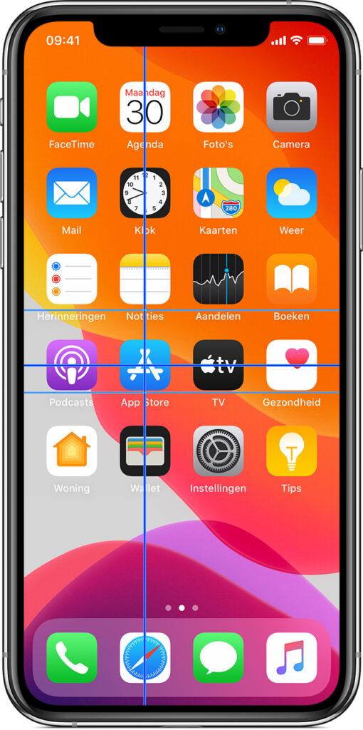 Afbeelding van iPhone waarbij met de kruisaanwijzers een app op het scherm gemarkeerd wordt.