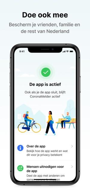 Een visuele afbeelding van de CoronaMelder app. Door de app te downloaden bescherm je vrienden, familie en de rest van Nederland.