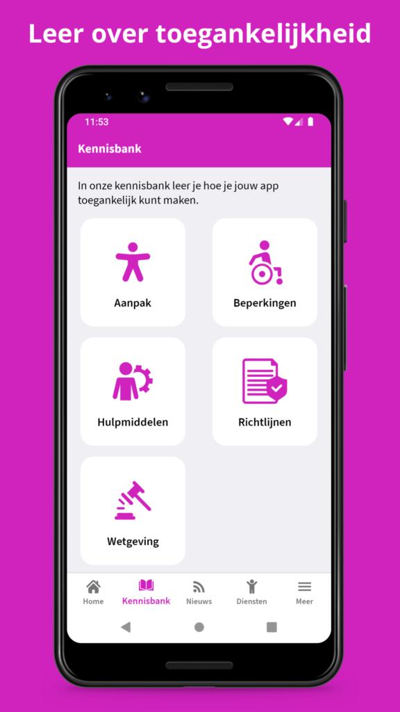 """Kennisbank scherm Appt app met titel """"Leer over toegankelijkheid"""""""