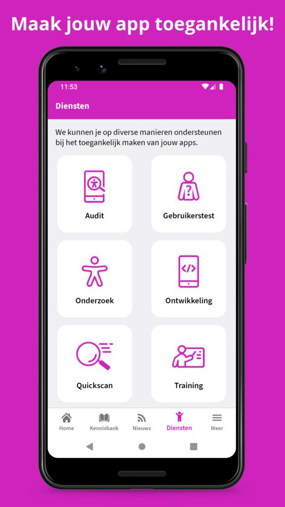 """Diensten scherm Appt app met titel """"Maak jouw app toegankelijk!"""""""